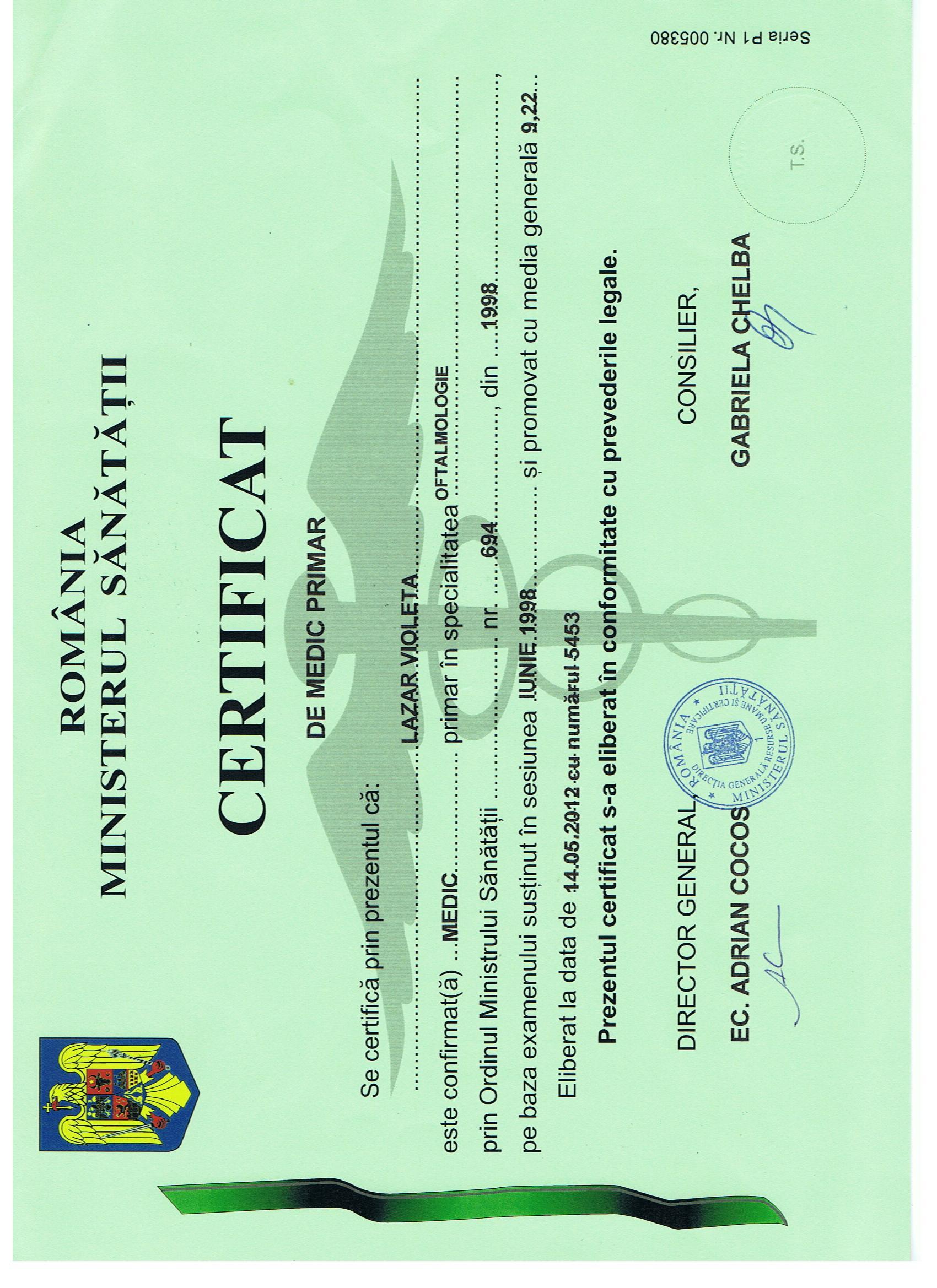 certificare oftalmologie