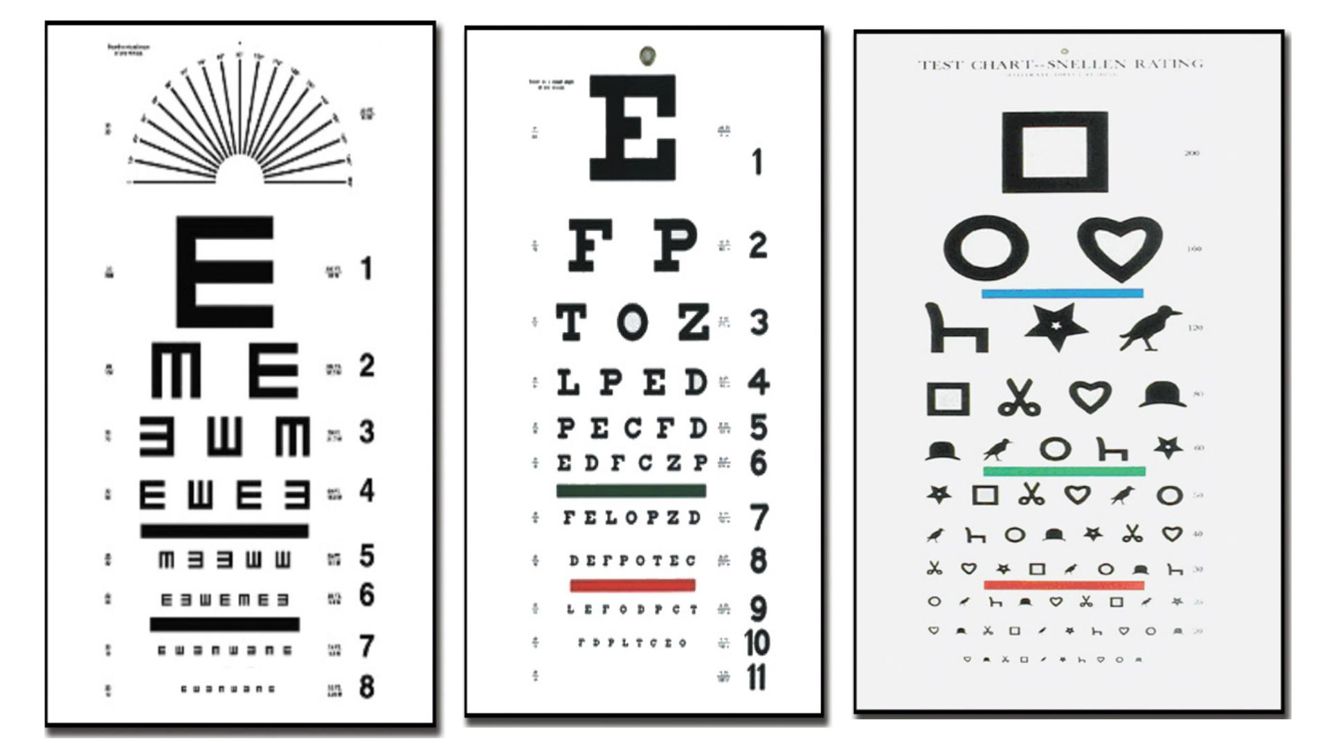 masa pentru verificarea ochilor ce litere distorsionarea vederii fețelor